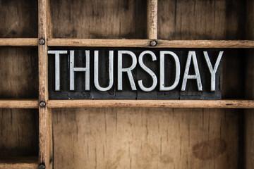 Thursday Concept Metal Letterpress Word in Drawer