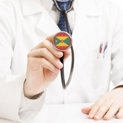 Doctor holding stethoscope with flag series - Grenada