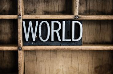 World Concept Metal Letterpress Word in Drawer