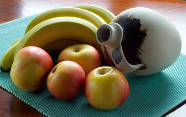 Still life with fruit and ceramic jug