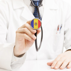 Doctor holding stethoscope with flag series - Moldova