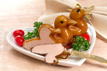 Duck pate in the shape of a bird