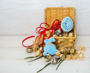 Biscuits Easter Bunny and egg in a basket of quail egg