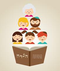 family reading hagada book at passover holiday, illustration