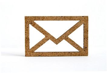 Wooden envelope icon on white background