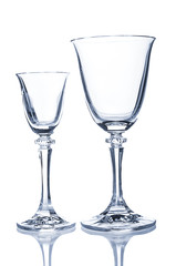 Two wine glasses on white background