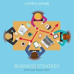 Business strategy graphic report flat top table view web concept