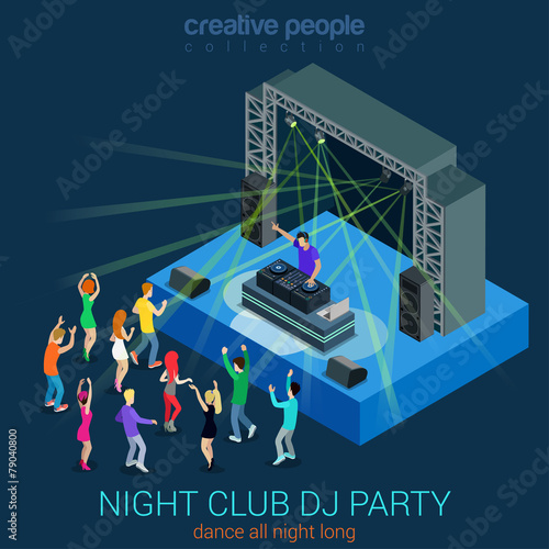 Night club DJ party flat 3d web isometric infographic concept - 79040800