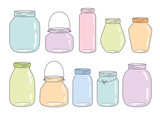 Vector colorful glass jars