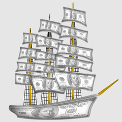 ship made from dollars