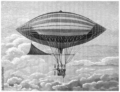 canvas print picture Airship - Ballon Dirigeable - 19th century