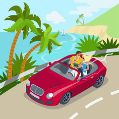 Travel couple cabrio car flat 3d web isometric concept