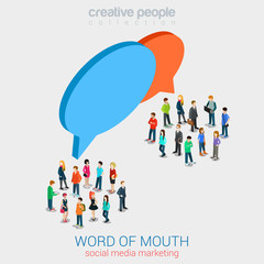 Social marketing word of mouth gossip flat 3d web isometric