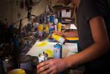 Artist's working in his studio