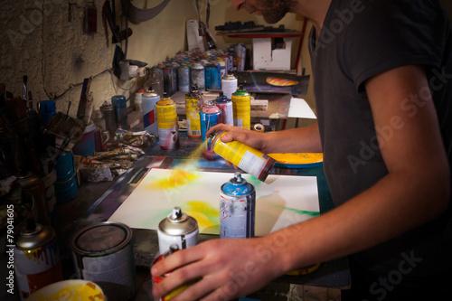 Artist's working in his studio - 79041605