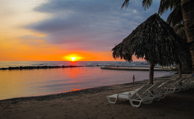 Colorful sunset on the Pacific Ocean in El Salvador