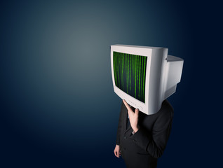 Cyber human with a monitor screen and computer code on the displ