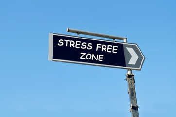 Stress free zone written on blue road sign