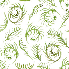 Seamless vector pattern with watercolor ferns