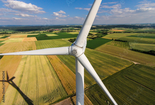 Wind turbine on a field, aerial photo