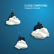 Cloud computing concept template with servers. Low polygonal - 79043031