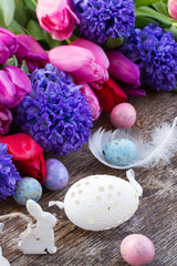 easter eggs with tulips and hyacinth