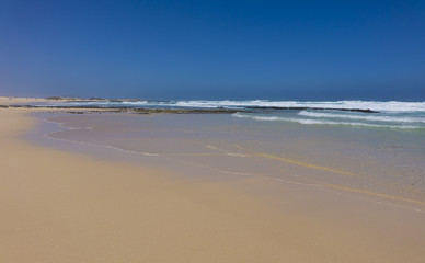 Golden sand on Corralejo beach Canary islands Spain