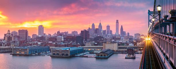 Philadelphia panorama under a hazy purple sunset