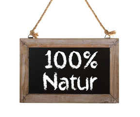 100% Natur Holzschild freigestellt