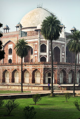 Palm garden with Mogul King Humayun's Tomb in New Delhi