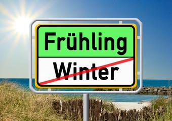 Ortsschild - Frühling - Winter