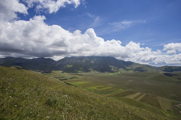 Landscape of the plain of Castelluccio, in Italy