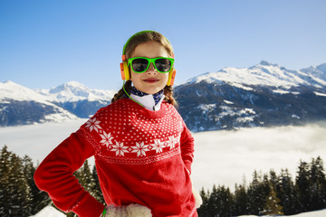 Winter vacation, snow, skier - girl enjoying winter
