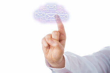 Touching A Swarm Of Email Icons Forming A Cloud
