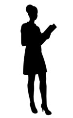 Silhouette of waitress