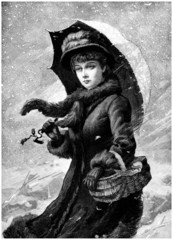 Woman in Snowy Weather - 19th century