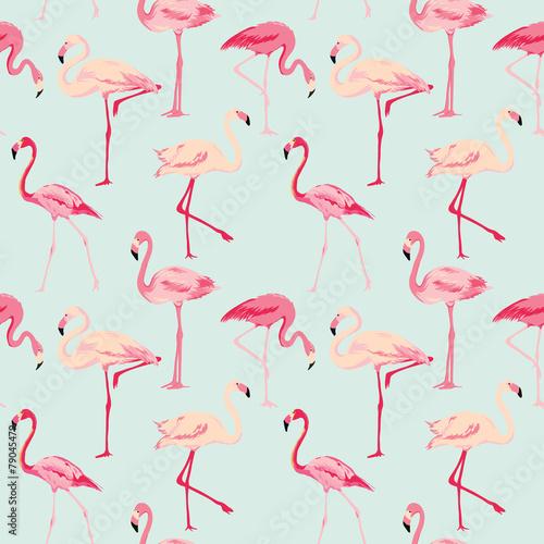 Cotton fabric Flamingo Bird Background - Retro seamless pattern in vector