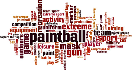 Paintball word cloud concept. Vector illustration