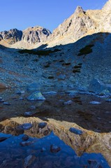 Mountain peak reflected in water