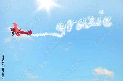 Fotobehang Vliegtuig biplano che scrive grazie nel cielo