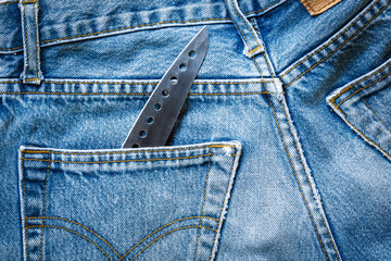 jeans bag with knife
