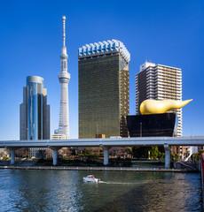 Asakusa Skyline in Tokyo mit Skytree und Asahi Gebäude