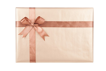Gift box with gifts and brown bow