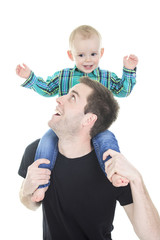 Son on the shoulders his father isolated