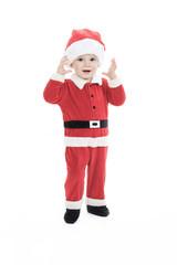 little happy boy in santa hat portrait