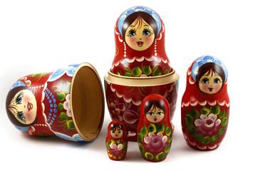 five traditional Russian matryoshka dolls