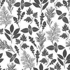 Seamless pattern with culinary herbs and spices. Black and white