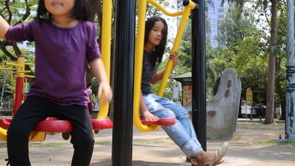 Children on Play ground , video smooth panning