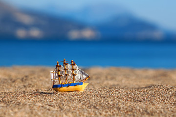 Souvenir sailing vessel on a beach