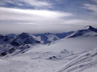 skigebiet auf einem gletscher